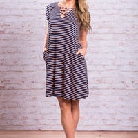 Abide By The Beauty Dress, Navy