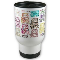 Cute whimsical girly floral owls pattern & hearts coffee mug from Zazzle.com