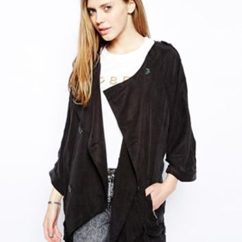 Gestuz Double Breasted Jacket with Tie Waist - Black