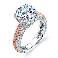 Simon G. Two-tone White and Rose 18K Gold Pave Engagement Ring Featuring 0.86 Carats White Diamonds and 0.17 Carats Natural Fancy Pink Diamonds