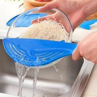 Whale Shaped Plastic Pot Strainer Rice Fruit Vegetable Wash Colanders Kitchen Cooking Gadgets Accessories Tools
