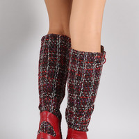 Tweed Combat Lace Up Knee High Boots