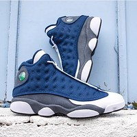 Air Jordan 13 AJ13 Classic Men Women Casual Sport Running Basketball Shoes Sneakers White&Navy Blue-1