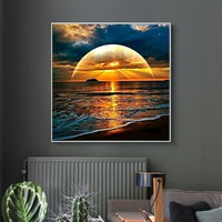 The Sun&Sea 5D Embroidery Paintings Rhinestone Pasted DIY Diamond Painting Cross Stitch Full Drill Wall Art Picture Poster #Y