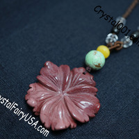 Natural Red Jasper Flowre Green Turquoise 40mm Flower Necklace