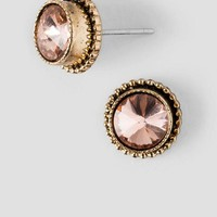 Floress Round Set Up Stud Earrings in Champagne