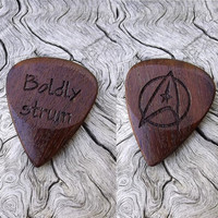 Handmade Premium Laser Engraved Wood Guitar Pick - Ipe (AKA Brazilian Walnut) - Actual Pick Shown - No Stock Photos - Trekkie Tribute Pick