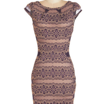 ModCloth Mid-length Cap Sleeves Sheath Taupe In Your Tracks Dress