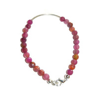 Faceted Berry Mix Beaded Bracelet with Curved Silver Tubing