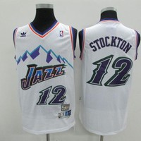 Utah Jazz #12 John Stockton White Retro Swingman Jersey