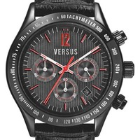 Men's VERSUS by Versace 'Cosmopolitan' Chronograph Leather Strap Watch, 44mm
