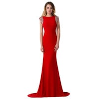 2016 Mermaid Cap Sleeve Elegant Long Red Beaded Prom Dress Under$50 Sexy Open Back Formal Party Dress with Little Train