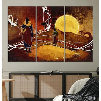 Sun and African People Large Wall Art Canvas Print