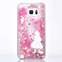 Rose Glitter Alice and White Rabbit Case for Galaxy Note for Samsung Note 5