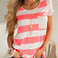 Loose Striped T-Shirt With Pocket