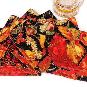 Fall Coasters, Quilted Fabric Coasters, Autumn Colors, Reversible Coasters, Beverage Mats, Set of 6 Coasters, Quiltsy Handmade