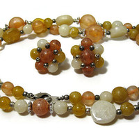 Vintage Necklace Earring Set Cream Peach Yellow Plastic Beaded Cluster Clip on Retro Womens