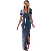 Sexy Sling Deep V-Neck Party Casual Beach Long Dress