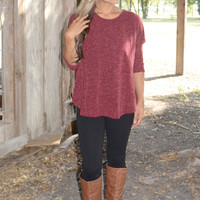 One More Day Sweater: Burgundy