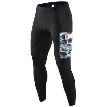 PEPEPEACOCK Quick Dry Powerflex Compression Baselayer Pants with Pocket, Legging Tights for Men