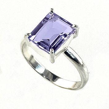 Alexandrite Princess Cut Sterling Silver Ring