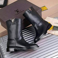 Louis Vuitton LV hot sale new style cowhide mid-tube boots ladies sexy Martin boots women's shoes