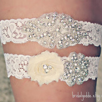 Wedding Garter Set - Toss Garter - Bridal Garter -Wedding- Crystal Garter-Rhinestone Garter-Vintage Garter-Vintage Wedding
