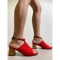 Ankle Strap Chunky Heeled Suede Sandals