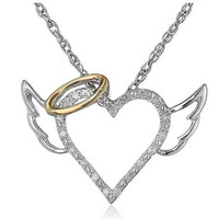 2017 Fashion Angel Wings Love Heart Pendant Necklace Jewelry Fashion Chain Necklaces Pendants