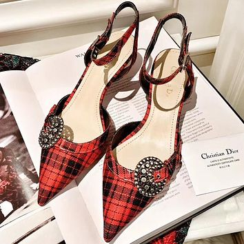 DIOR New Trending Women Pointed Classic Red Plaid High Heeled Sandals Shoes