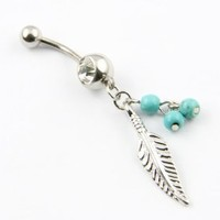 316L Surgical Steel 14g Leaf Dangle with Blue Beads Navel Belly Button Ring Barbell Piercing + 1 Retainer