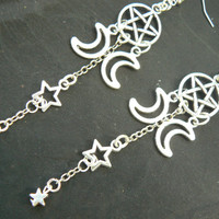 pentagram earrings Triple moon earrings star earrings triple moon earrings in fantasy boho Wicca wiccan witch magic hipster style