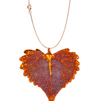 Real Leaf PENDANT with Chain COTTONWOOD Dipped in Copper Genuine Leaf Necklace