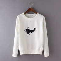 Dolphins Embroidery Pullovers Shirt