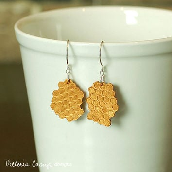 Honeycomb Earrings on Sterling Silver Hooks, Hand formed Clay, Hexagon, Patterned, Geometric, Beekeeper - Ready to Ship