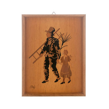 RARE Vintage Wood Inlay Art MARQUETRY WOOD INLAY by Buchschmid & Gretaux - Framed - Chimney Sweep and Little Girl Wood Veneers in Natural Colors