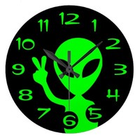 Peace Sign Alien Wall Clock from Zazzle.com