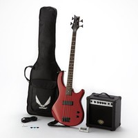 Dean Guitars Edge 09 Electric Bass Guitar Pack with Practice Amp & Gig Bag (Red)