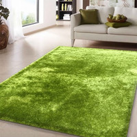 Solid Lime Green Shag Area Rug Amore collection Hand Tufted Weave
