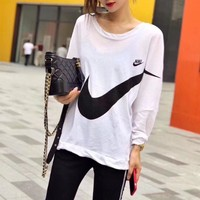 """Nike"" Women Casual Hook Logo Print Thin Long Sleeve Sun Protection Clothing Pullover Tops"