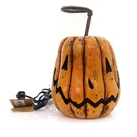 Halloween GRINNING PUMPKIN Polyresin Carved Lighted Electrical 18159