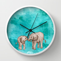 Baby Elephant Love - sepia on watercolor teal Wall Clock by Perrin Le Feuvre