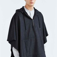 The Narrows Wool Hooded Poncho- Charcoal