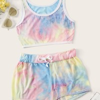 Tie Dye Crop Top With Drawstring Shorts