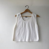 Vintage cotton tank top. basic white textured tank top. cropped tank top. white minimalist modern tank.