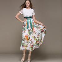 Floral Mesh Sleeve Dress with Ribbon Belt