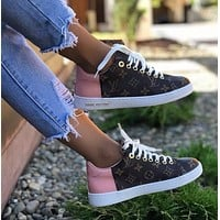 LV Louis Vuitton New fashion monogram print leisure sports shoes women