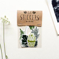 House Plant Sticker Pack - Set of 5 - Vinyl Stickers - Hand Drawn Stickers - Cactus Sticker - Succulent Sticker - Plant Sticker - Leaf Print