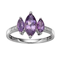 Amethyst & Diamond Accent Sterling Silver Marquise 3-Stone Ring (Purple)