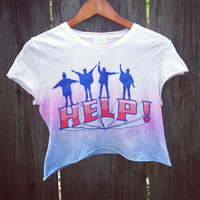 The Beatles pink and Blue Ombre crop shirt hipster